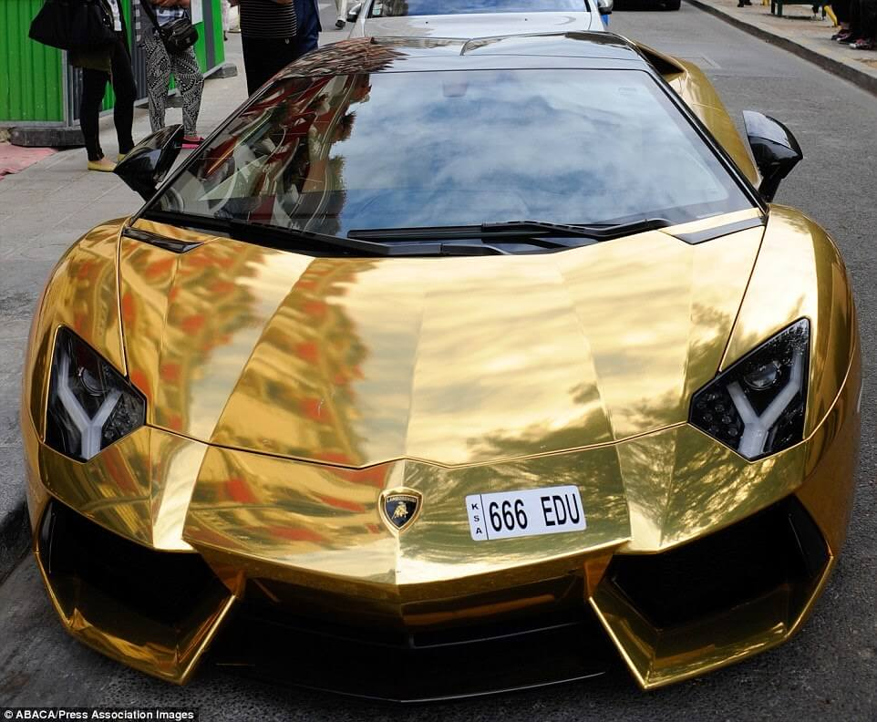 $6 million Gold Lamborghini Aventador Pictured in Paris