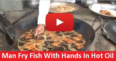 Man Fry Fish In Hot Oil With Hands Amazing Video