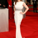 white half sleeve celebrity gowns